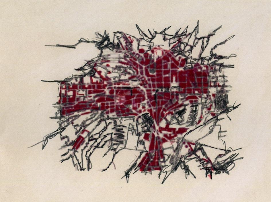 Crayon gras/papier perle, 22x16 cm.