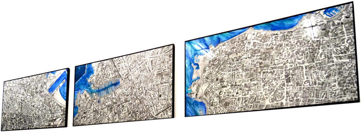 Mine de plomb/aquarelle, 330x60 cm.